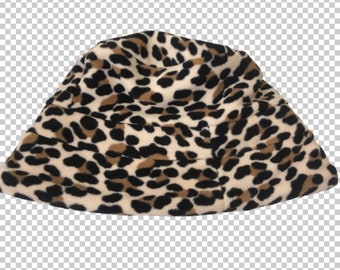 815f62235be 1990s Leopard Fleece Bucket Hat    90s Cheetah Leopard Print Sassy Shiny  Faux Fur Hat    Y2K Bratz Aesthetic Animal Print Soft Party Hat