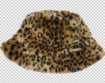 52131262f74 90s Leopard Faux Fur Bucket Hat    1990s Cheetah Leopard Print Sassy Shiny  Hat    Y2K Bratz Aesthetic Animal Print Soft Party Hat