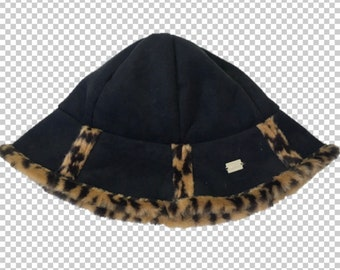 72a47fd3398 1990s Furry Leopard Trim Bucket Hat    90s Black Faux Suede   Cheetah Print  Sassy Hat    Y2K Bratz Aesthetic Animal Print Soft Hat