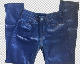 Sz 10 Y2K Snakeskin Shiny Blue Skinny Jeans Etoile Blue    90s Metallic  Pants Slim Cut Skinny    Lizzie McGuire Style 90s - 00s Bratz Pants 05caa3c25cf02