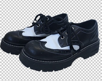 1e01cf2ff57d Men s 8 Skechers Wingtip Chunky Oxford Creepers    1990s Black and White  Classic Oxford Brogues Docs    US Women s 9.5