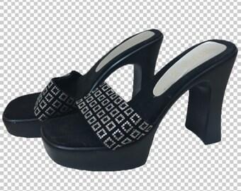 a92420de23c Sz 6.5 Glitter Squares 1990s Sexy Platform Heels    90s Baby Club Shoes  Square Heels Platforms    Y2k Black Silver 4 Inch Heels Size 39