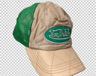 1b73d2233c69e Y2K Von Dutch Trucker Hat    Rare Beige and Green Quilted Satin Snapback Baseball  Cap    Y2K Diva Mall Rat Bratz Aesthetic