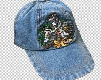 e81ee84c62890 1990s Mickey Mouse   Friends Safari Embroidered Denim Baseball Cap    90s  Dad Aesthetic Disneyland Novelty Hat Adjustable Kids   Small