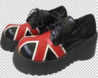 476cdc8191f0 Sz 6 1990s Funky Chunk Union Jack Platform Oxfords    90s Spice Girls  Aesthetic Chunky Leather British Invasion Lace-Up Platforms