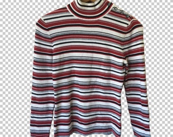 edaf17b5ef 90s Ribbed Striped Turtleneck Sweater    90s Red Gray Striped Longsleeve  Sweater    Women s Small 90s Basics Button-Neck Mock Neck Sweater