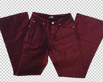 Sz 1 Y2K Lazer Jeans Shiny Red Metallic Flares    90s Metallic Pants Slim  Cut Bratz Aesthetic    Lizzie McGuire Style 90s Baby Slim Flare e8413e3880596