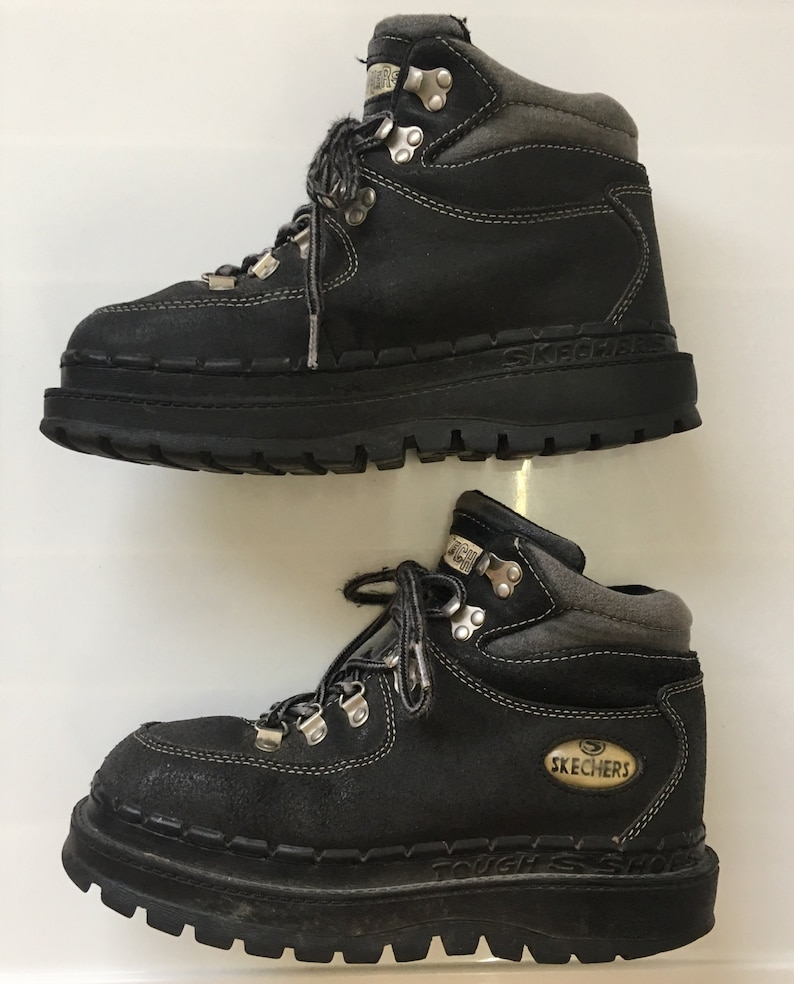 62b3231259e30 Sz 6.5 Skechers Jammers 90s Platform Chunky Boots // Y2k High Top Sneakers  Black Gray Leather Creepers // 1990s Trekker Club Platforms