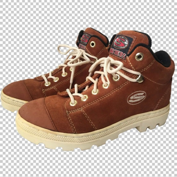 03e00d0995332 Sz 7 RARE Skechers Burnt Orange Leather 90s Platform Chunky Creeper  Sneakers // 1990s Trekker Lug Sole High Top Orange-Brown Boots US 7