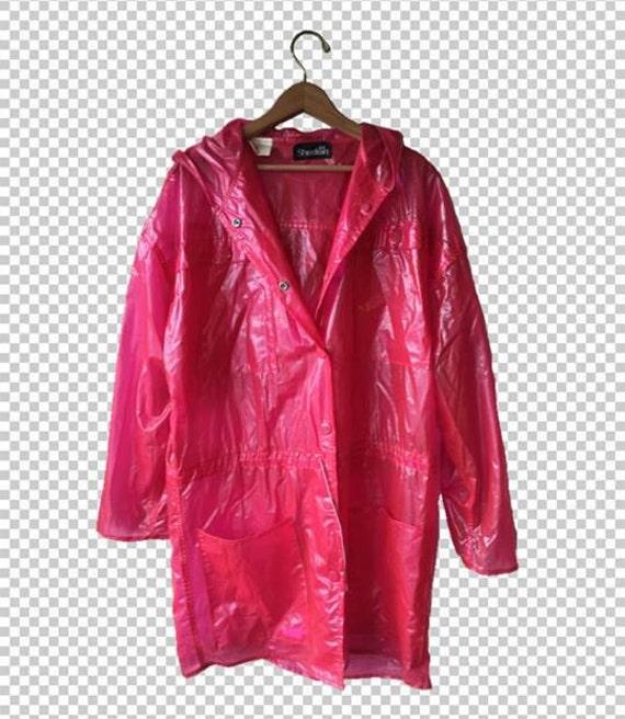 Vintage Pink Vinyl Raincoat Festival, See Through Plastic Trench Coat