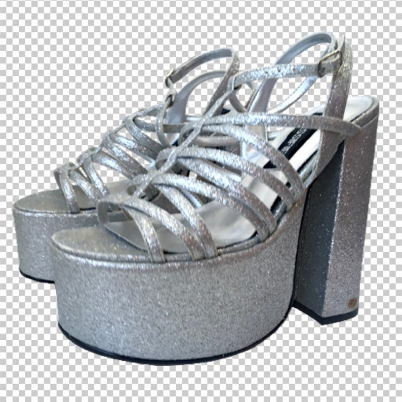 28bfb166d8fd5 Sz 7 Silver Glitter 1990s Platform Heels Classified // 90s Baby Club Shoes  Round Toe Bratz Platforms // Y2k Sparkly 6 Inch Heels