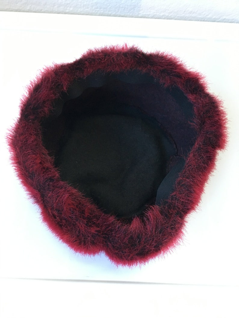 ada6bdb5c61e0 Vintage Faux Fur Cossack Round Hat    90s Hot Pink Red Sassy