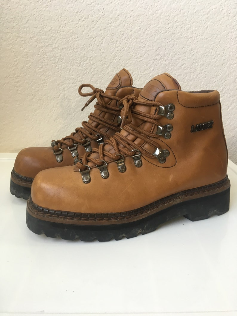 6a727febd9536 Sz 8.5M LUGZ 90s Chunky Platform Leather Work Boots // 1990s Trekker Heel  Camel Brown Leather Combat Boots US Women's Size 10 Men's 8.5