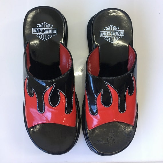 f132a6f93a68 Sz 9.5 Harley Davidson 1998 Red Flames Patent Vegan Leather