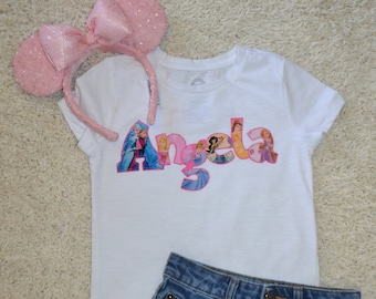 Custom Personalized Princess Applique Shirt Perfect For A Disney Vacation Or Birthday