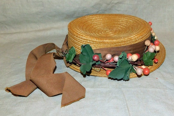 1930's Ladies Boater Hat