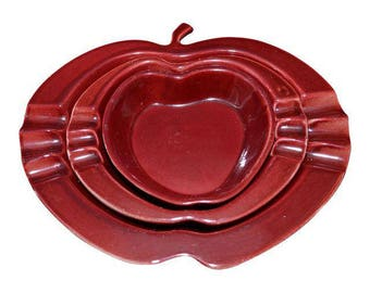 1957 Rookwood Nesting Apple Ash Collectors - Set of 3