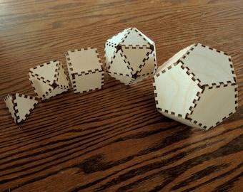 DIY 3D Platonic Solids Set - Sacred Geometry - Polygon Set - Laser Cut Wood - Item Number LT40160
