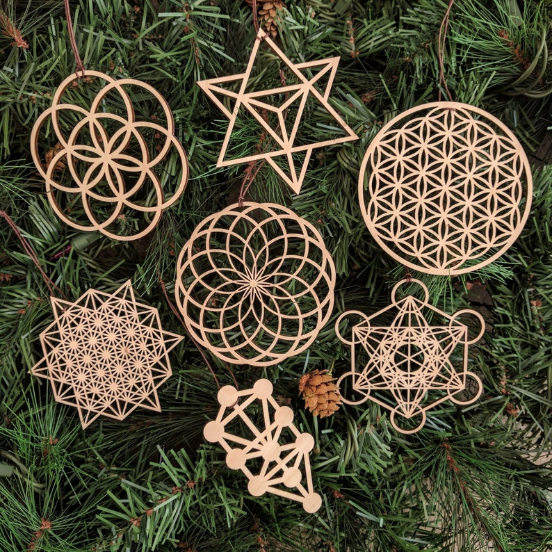 Sacred Geometry Holiday Ornaments Set Of Seven Laser Cut Wood Wooden Sacred Symbol Flower Seed Of Life Christmas Xmas Decoration Merkaba