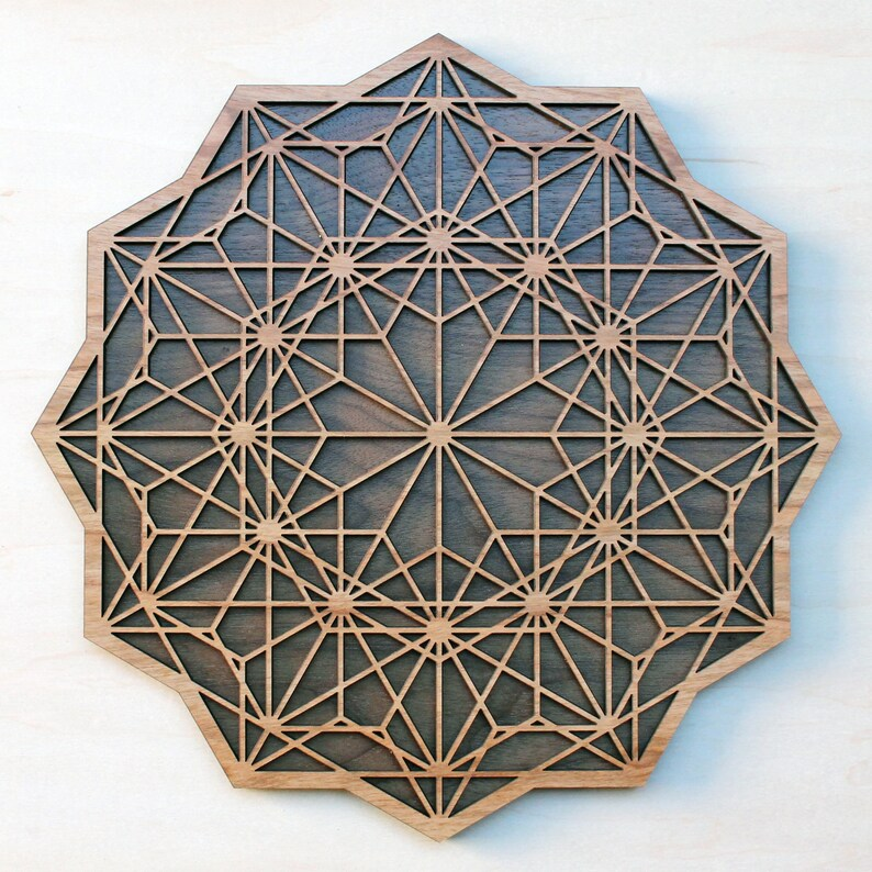 Asanoha Rose 18 Or 22 Wood Wall Art Hanging Laser Cut Living Room Home Decor Wooden Japanese Geometric Pattern Earthy Home Decoration