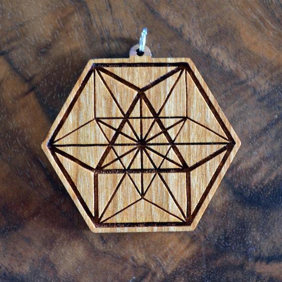 Natural Hardwood Laser Cut Engraved Wood Wooden Sacred Geometry Custom Gemstone Jewelry Necklace Fibonacci Seed of Life Pendant