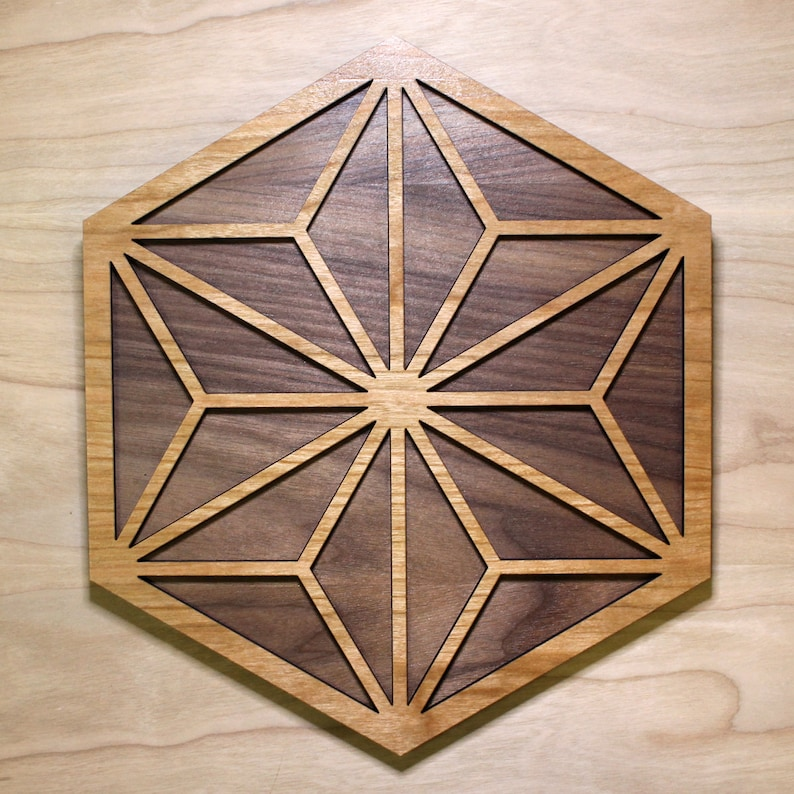 Asanoha Hexagon 10 Wood Wall Art Hanging Laser Cut Wooden Living Room Home Decor Sacred Geometry Japanese Pattern Earthy Home Decoration