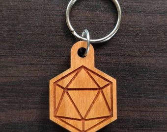 Icosahedron Hardwood Keychain - Precision Laser Cut Sacred Geometry Quality Hand Finished Natural Wood