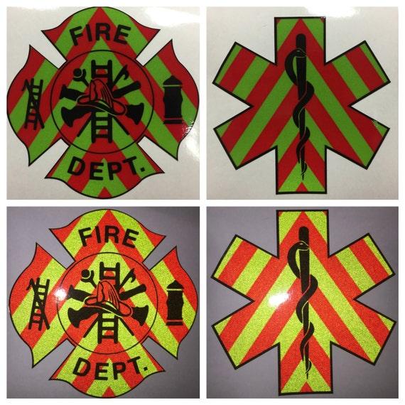 "RED//YEL 4/"" Star Of Life Chevron Paramedic EMT EMS Medic Decal Sticker REFLECTIVE"