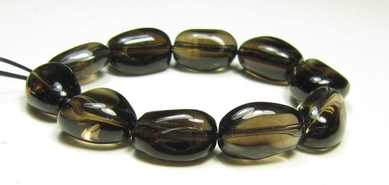 #SJ20585 - Smoky Quartz Freeform Rough Cut Smooth Nuggets Bead bead length 14~15mm 10 beads
