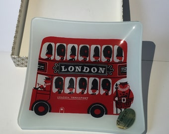 Vintage glass dish tray Chance Glass 1960's London Double Decker Bus
