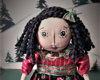 Pretty Little Lolly ~ Primitive ~ Folk Art ~ OOAK ~ Collectible ~ Christmas Dolly