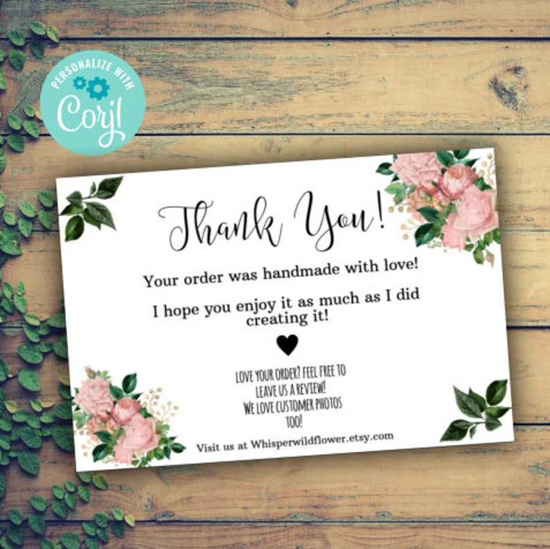 floral thank you for your order insert template small  etsy