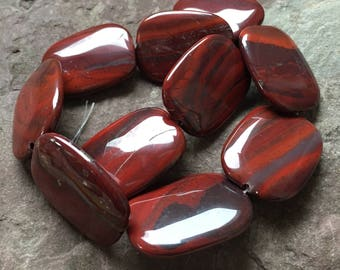 red rainbow Jasper beads, smooth polished, tumbled Jasper, jewelry supply, brick red