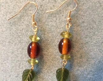 Green and brown leaf earrings
