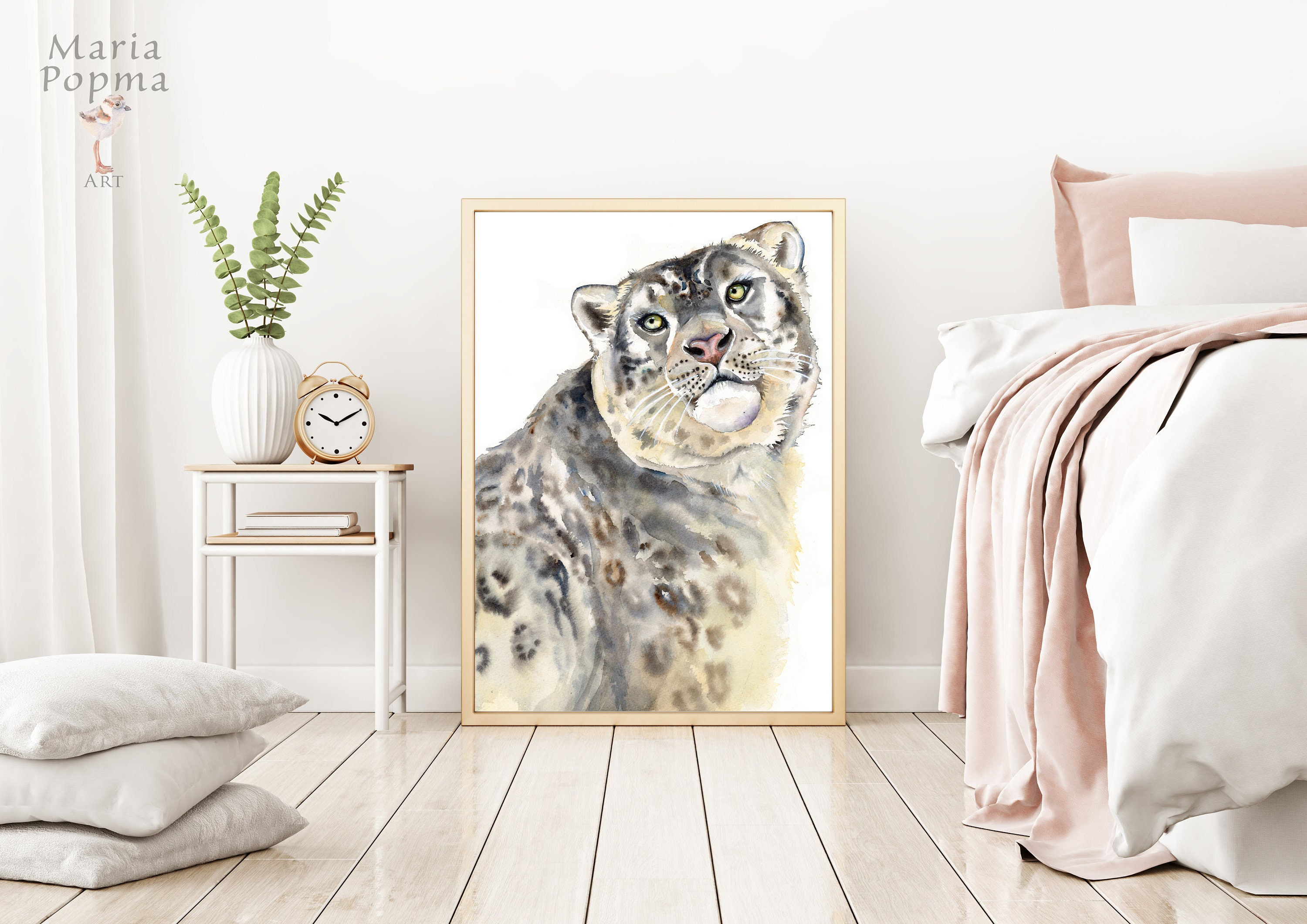 Snow Leopard Watercolor Woodland Animals Nursery Wall Art Etsy
