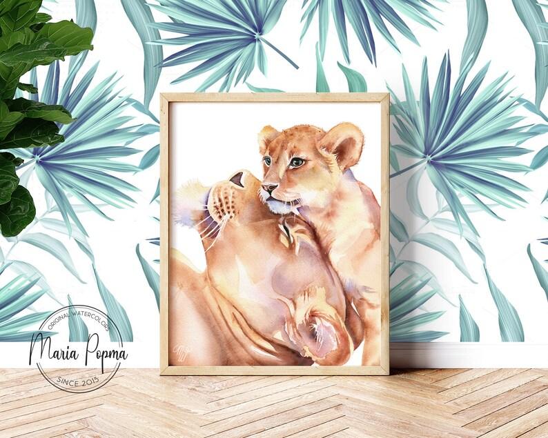 DIGITAL DOWNLOAD Safari Nursery Art Printable Elephant Zebra Affordable Baby Room Wall Decor Giraffe Lion Nursery Animal Print Set