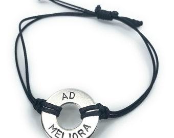 AD MELIORA - Latin Phrase Washer Bracelet