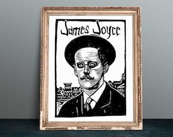 James Joyce linocut portrait