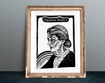 Adeline Virginia Woolf linocut portrait