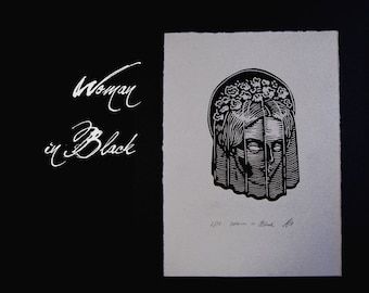 Woman in Black linocut print