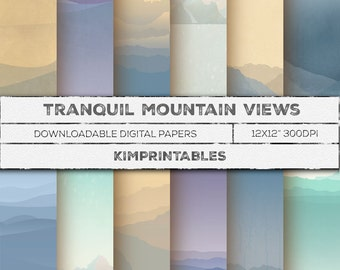 Tranquil Mountain Views digital paper LANDSCAPES for backgrounds, wall art - INSTANT Download - CU - Paper craft supplies by KimPrintables