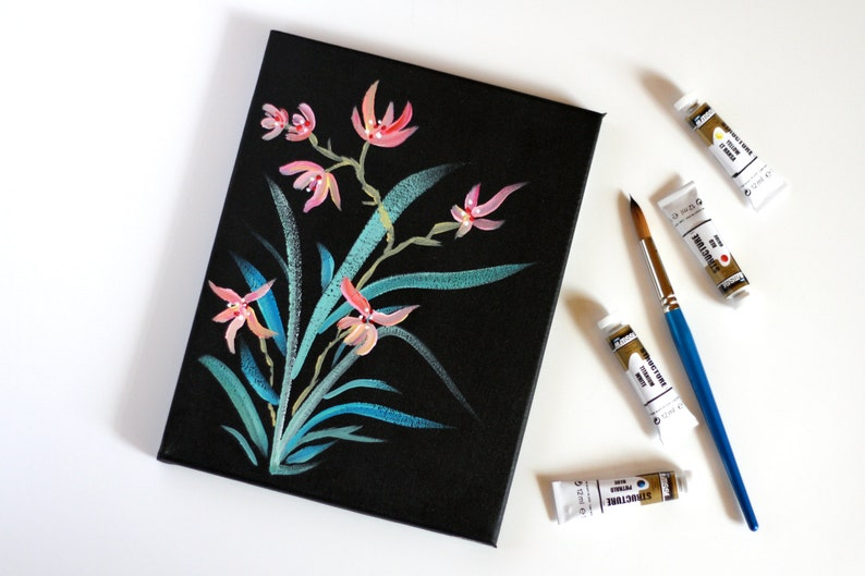 213695307 Flower Painting Acrylic on Canvas Japanese Style Flower