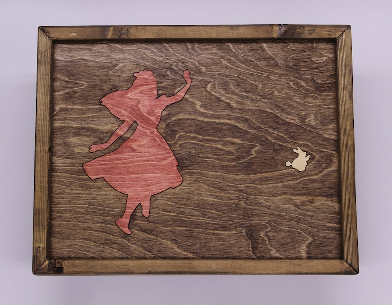 Alice In Wonderland Wooden Inlay Wall Art image 0