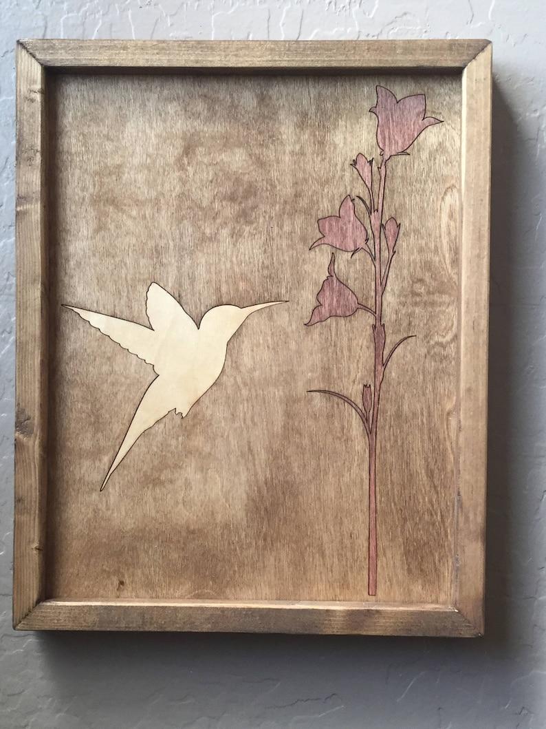 Hummingbird Wooden Inlay Wall Art image 0