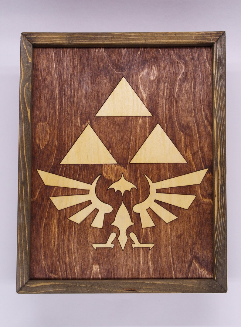 Zelda Tri Force Wooden Inlay Wall Art image 0