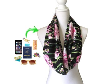 Zip Pocket Short Loop Infinity Scarf Head Cover for passport money etc Lightweight Spring Summer Autumn Fall Black Pink Green Floral Fabric
