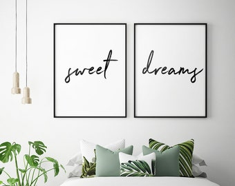 Above Bed Art U2013 Sweet Dreams U2013 Printable Art (Set Of 2), Bedroom Decor,  Scandinavian Art, Bedroom Wall Art Posters **Instant Download**