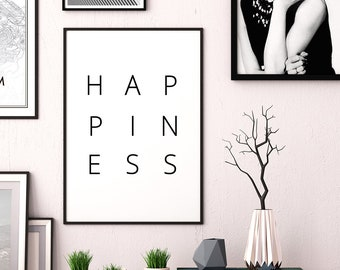 HAPPINESS Printable Art, Typography Poster, Happiness Word Art, Inspirational Art, Happiness Poster, Happiness Quote Print, INSTANT DOWNLOAD