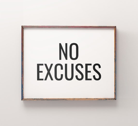 No Excuses Printable Art Fitness Quotes Print Workout Etsy