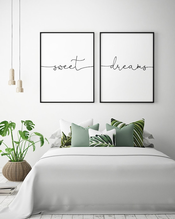 Above bed art sweet dreams printable art set of 2 etsy - Over the bed art ...